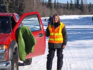 Volunteer at her truck