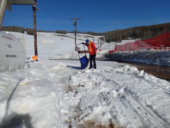 Bionic Byron hauling snow