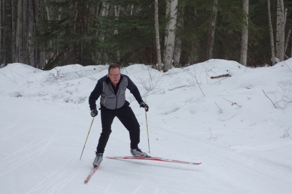 Hatless skiing in Fairbanks