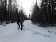 Nanooks shoveling on 20 km turnaround