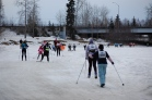20 km skiers heading to feed station